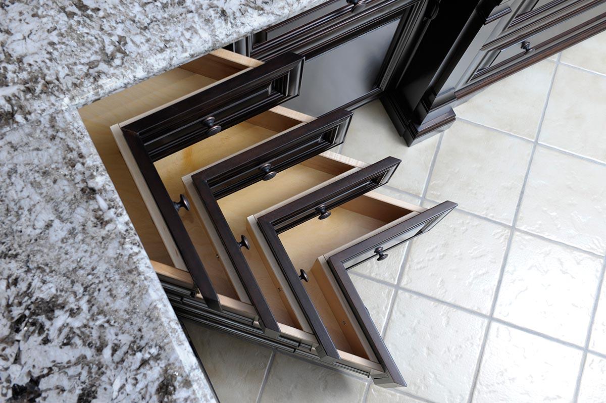 Corner bank drawers